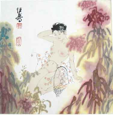 """名家 徐默 绘画 国画 人物画 - 徐默的作品""""裸体少女"""""""